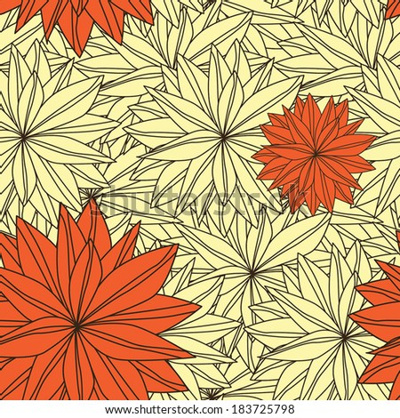 Seamless Pattern of Beautiful and Dynamic Floral Outline - stock vector