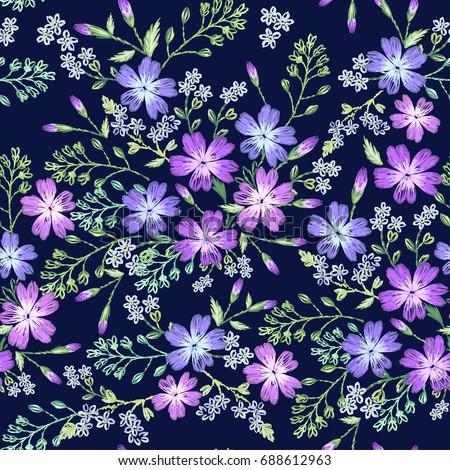 Seamless Pattern Of Beautiful Purple Flowers On A Dark Background Imitation Embroidery