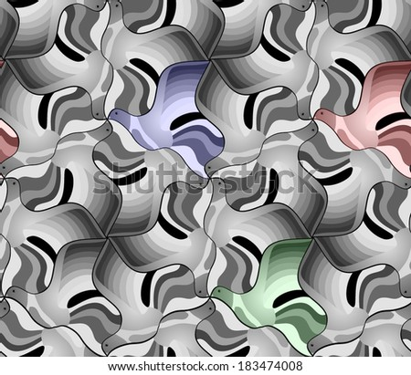 Seamless pattern of black and white birds. Triangular mosaic of flying pigeons. Vector illustration. - stock vector