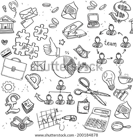 Seamless pattern of black doodles on business theme 2 - stock vector