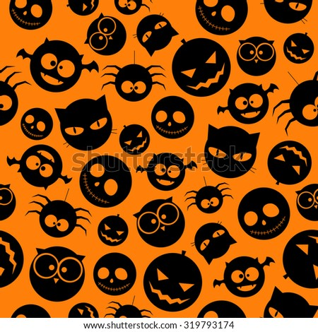 Seamless Pattern of Black Halloween icons on Orange Background. Vector illustration