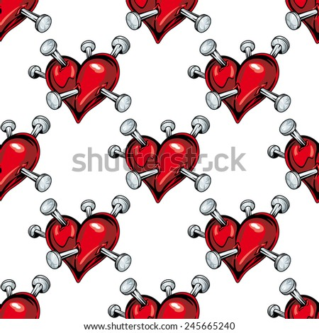 Seamless pattern of bleeding hearts pierced with nails - stock vector