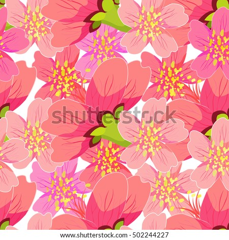 seamless pattern of blossoming cherry Japanese and Chinese a macro vector illustration