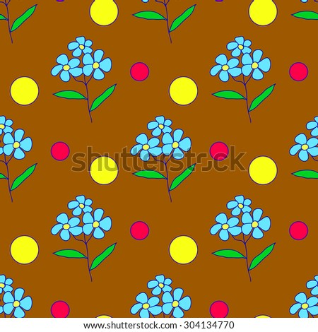 Seamless pattern of blue doodle flowers, yellow and red dots on brown background - stock vector