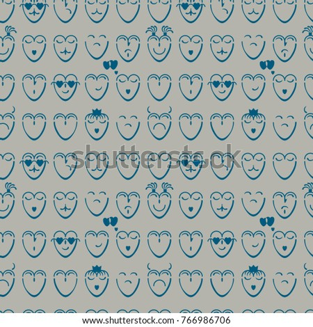 Lovely Seamless Pattern Of Blue Hearts With Different Moods On A Blue Background Pictures