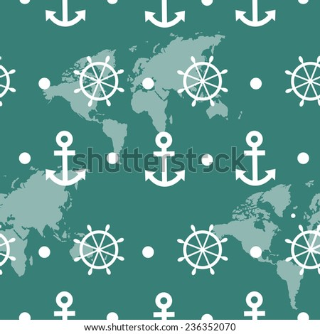 Seamless pattern of blue sea anchors and wheels - vector - stock vector