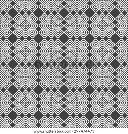 Seamless pattern of braided crosses with swatch for filling. Celtic ornament texture. Fashion geometric background for web or printing design.