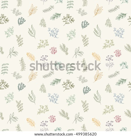 Seamless pattern of branches, flowers, herbs and leaves. Hand drawn vector illustration of can be used for wallpaper, website background, wrapping paper, invitation, flyer, banner or website