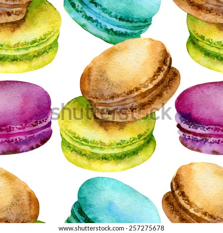 Seamless pattern of bright colored French pastries macaroon. Vector illustration - stock vector