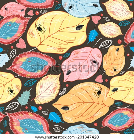 seamless pattern of bright colorful autumn leaves