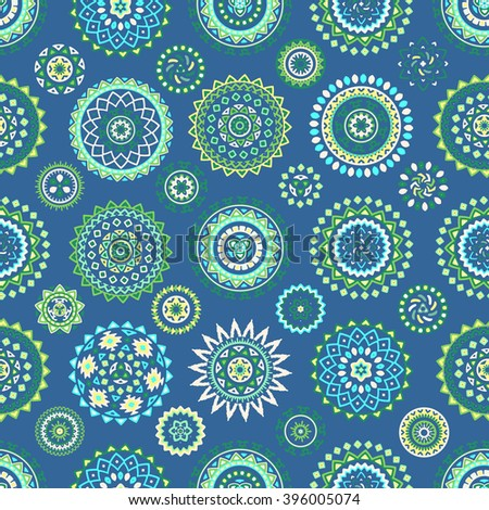 Seamless pattern of bright colorful geometric round ethnic decorative elements. Vector mandala background with bohemian, Oriental, Indian, Arabic, Aztec motifs. - stock vector