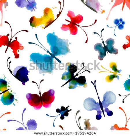 Seamless pattern of butterflies from watercolor blots. Bright watercolor butterflies on white background. Abstract hand-drawn texture. - stock vector