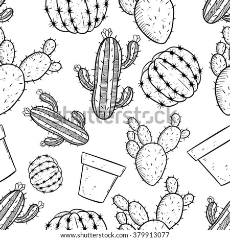 Seamless Pattern of Cactus With Line Art or Sketchy Style