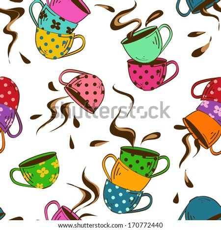 Seamless pattern of cartoon colorful teacups and splash