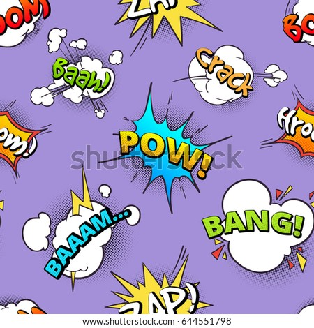 Seamless pattern of cartoon comic speech bubbles with different sounds. Retro bubble sound speech, illustration of comic cartoon cloud