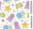 seamless pattern of cartoon sea creatures, vector stickers - stock vector