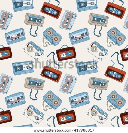 Seamless pattern of cassette tapes. Audio cassette. Vector background.