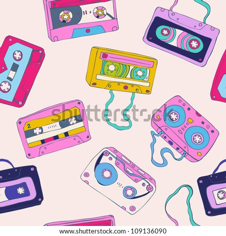 Seamless pattern of cassette tapes. Vector background.