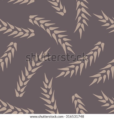 Seamless pattern of cereal wheat ears. - stock vector