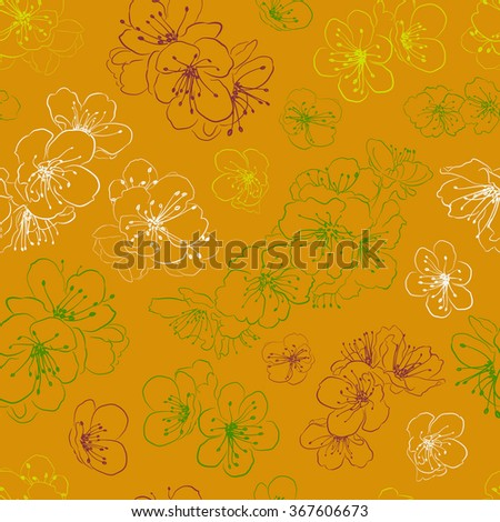 Seamless pattern of cherry blossoms, multicolored on orange
