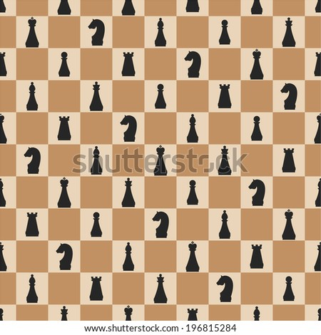 Seamless pattern of chess on chessboard - stock vector