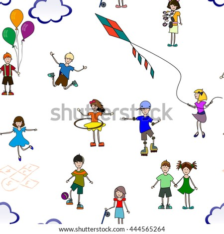 seamless pattern of children play and do sports in summer