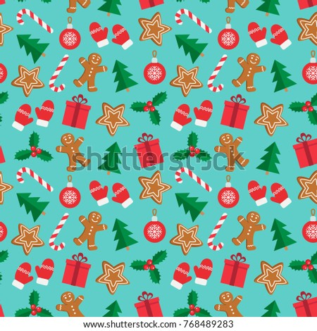 Seamless pattern of Christmas and New Year symbols. Gingerbread man, candy, gift, ball, christmas tree, mistletoe, gloves pattern on mint green background. Vector illustration.