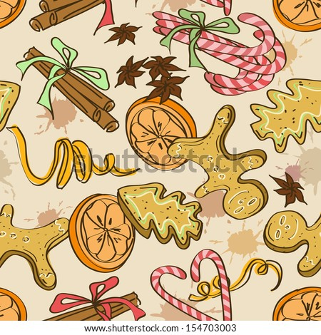 Seamless pattern of christmas cookies, sweets, orange and spices
