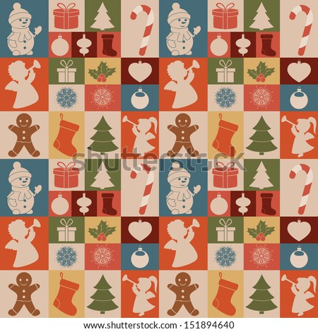 Seamless pattern of Christmas icons. - stock vector