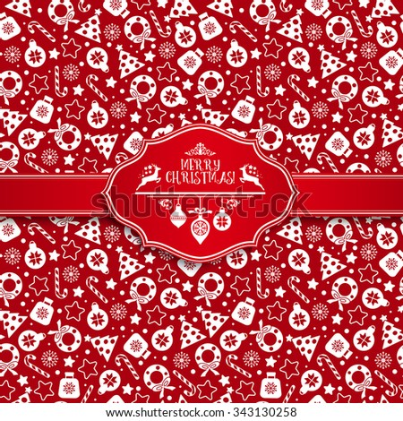 Seamless pattern of christmas texture icons on red background. - stock vector