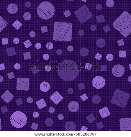 Seamless pattern of circles and squares. Net and cellular background. Pencil shading. Children's drawing. Flat.