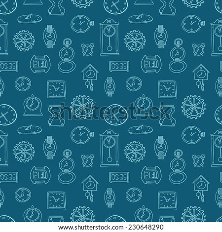 Seamless pattern of clocks and watches. Hand drawn vector illustration. Seamless pattern can be used for wallpaper, pattern fills, web page background, surface textures. - stock vector