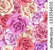 Seamless pattern of color roses. Bright floral background. - stock vector