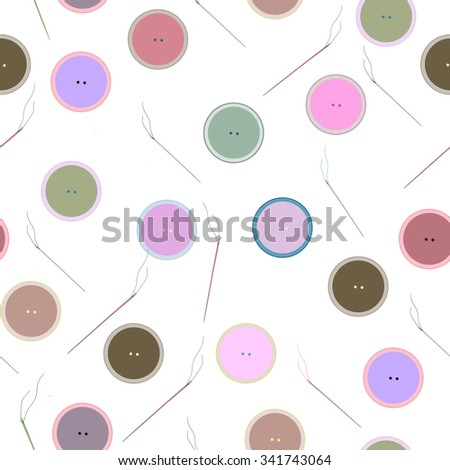 Seamless pattern of colored buttons and needles. Sewing, needlework  - stock vector