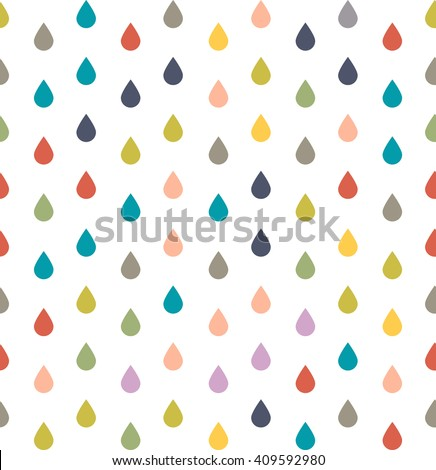 Seamless pattern of colored dew drops, rain drops on isolated background for wrapping paper and Wallpaper - stock vector