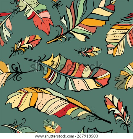 seamless pattern of colored feathers, vector pattern - stock vector