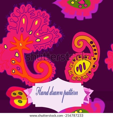 Seamless pattern of colored floral motifs, label on a dark pink   background. Hand drawn.