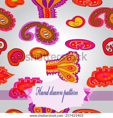 Seamless pattern of colored floral motifs, label on a gradient gray    background. Hand drawn.