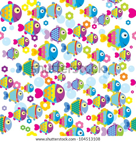 Seamless pattern of colorful cartoon fishes - stock vector