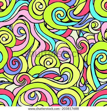 Seamless pattern of colorful curls