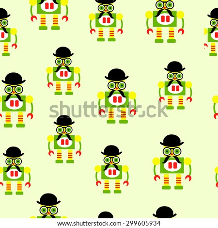Seamless pattern of colorful cute robots on green background