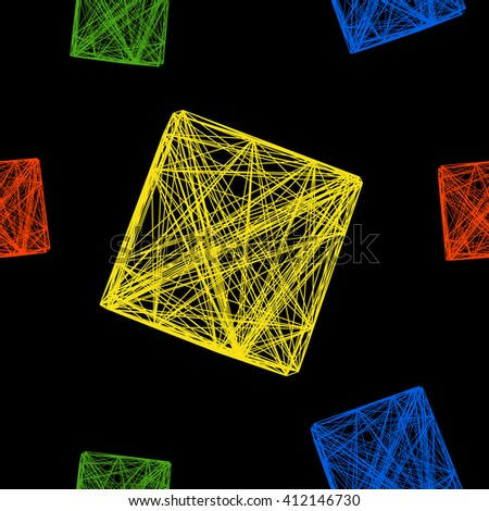 Seamless pattern of colorful 3D cubes, a cube made of lines, vector illustration on isolated black background - stock vector