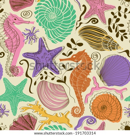 Seamless pattern of colorful hand drawn seashells, starfish and seahorse - stock vector
