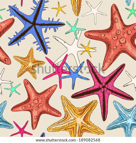 Seamless pattern of colorful hand drawn starfish