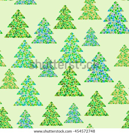 Seamless pattern of colorful mosaic fir trees on green background. Northern wood vector illustration. Can be used for Happy New Year and Christmas design.  - stock vector