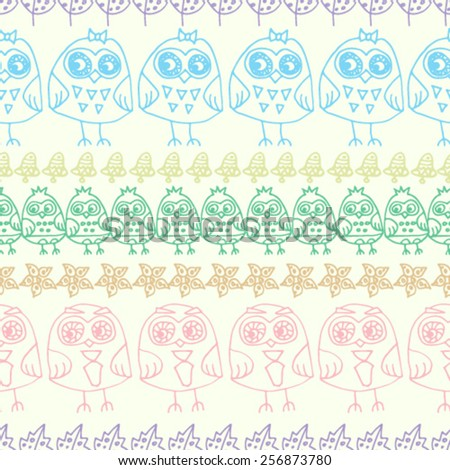 seamless pattern of colorful owls and abstract shapes doodle. vector illustration. - stock vector