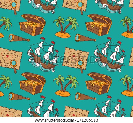 Seamless pattern of colorful pirate theme