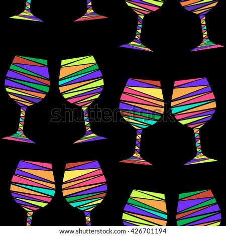 Seamless pattern of colorful wine glasses in geometric style. Mosaic vector illustration of wine stemware on black background. Vector illustration for menus, special occasions, wrapping, cards, etc. - stock vector