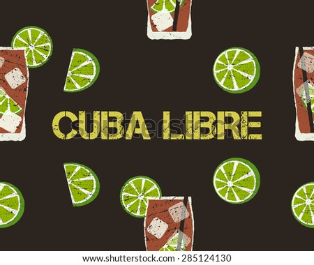 Seamless Pattern of Cuba Libre cocktail with lime and sign. Dark background. Unusual concept. Vector illustration. - stock vector