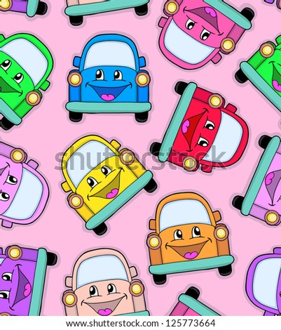 Seamless pattern of cute cars, vector illustration - stock vector